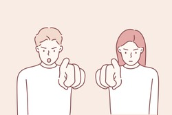 It's you! Portrait angry annoyed people getting mad pointing finger at you camera showing hand gesture this is you. Hand drawn style vector design illustrations.