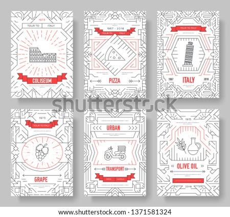 Italy vector brochure cards thin line set. Country travel template of flyear, magazines, posters, book cover, banners. Layout culture monument outline illustrations modern pages #1371581324