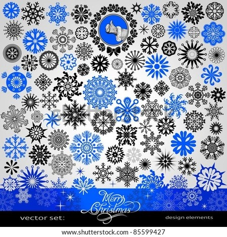 77 items - Christmas and New Year creative snowflakes and stars set,  horizontal blue, winter,  banner, vintage and retro ornaments, text, patterns for decoration and design