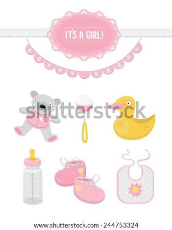 ' its a girl  ' vector set