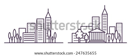 ity landscape line vector