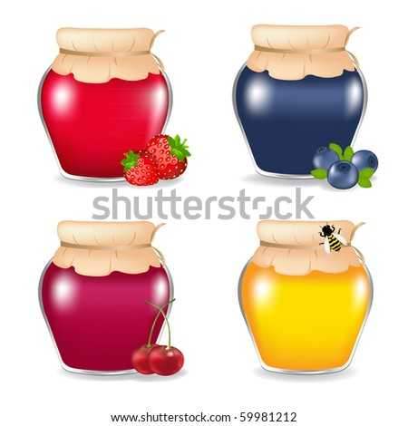 3 Jam Jars And Honey Jar, Isolated On White Background, Vector Illustration