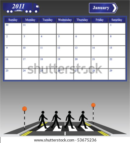 january calendars 2011. stock vector : 2011 January