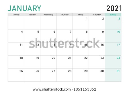 2021 January illustration vector desk calendar weeks start on Monday in light green and white theme