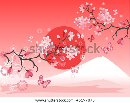Japanese cherry tree to the background of the mountain - stock vector