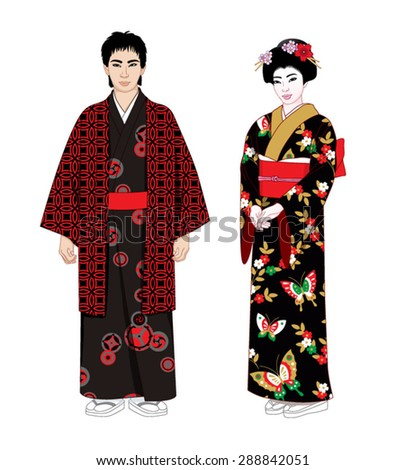 japanese people in kimono