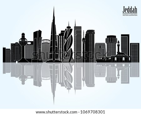Jeddah city skyline, Saudi Arabia. Vector illustration
