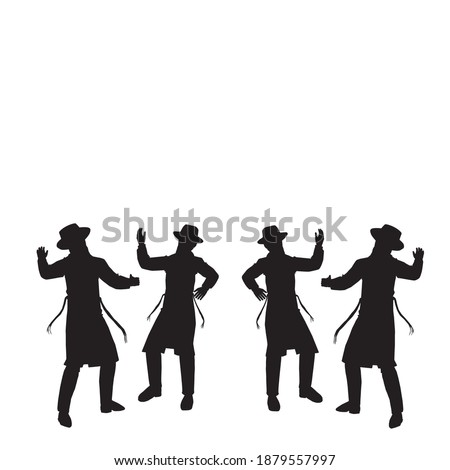 4 Jewish followers dancing. Flat vector silhouettes. Black on a white background. The figures are dressed in long coats and sashes fluttering to the sides as they move