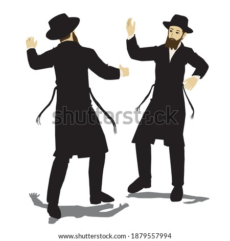 2 Jewish Hasidic Jews dancing. Flat vector drawing. The figures are dressed in long coats and sashes fluttering to the sides as they move ストックフォト ©
