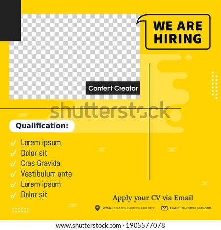 Job vacancy design poster. We are hiring post feed on square design. Open recruitment design template. Social media find a job layout Сток-фото ©