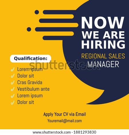 Job vacancy design poster. We are hiring post feed on square design. Open recruitment regional sales manager design template. Social media find a job layout