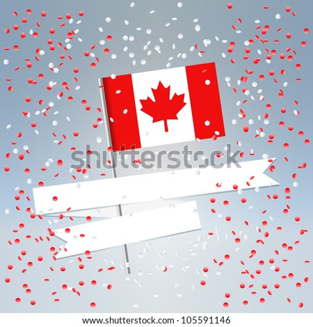 1 July Canada Day festive composition postcard with state flag and flying confetti