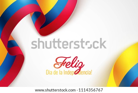 20 july. Colombia Happy Independence Day (written in Spanish) greeting card. Waving colombian flags isolated on white background. Patriotic Symbolic background  Vector illustration