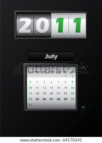 2011 july month counter calendar