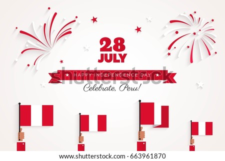 28 July. Peru Happy Independence Day greeting card. Celebration background with fireworks, flags and text. Vector illustration