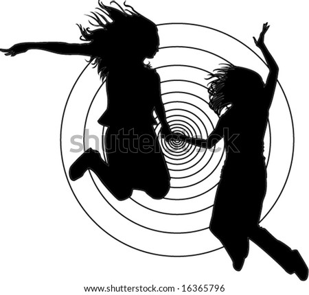 holding hands jumping. stock vector : 2 jumping girlfriends holding hands against black and white