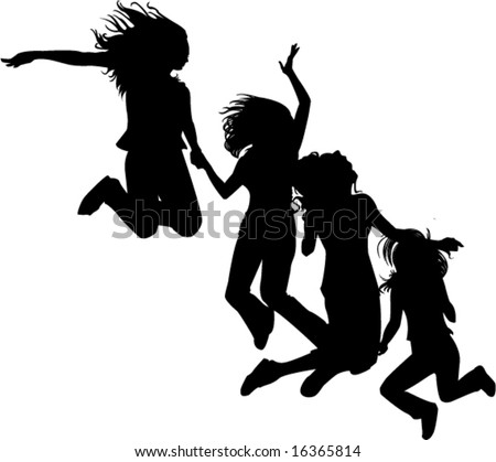 4 jumping silhouetted girlfriends