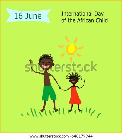 16 June International Day of the African Child.Children's drawing style vector illustration.African boy and african girl waving their hand in greeting on green background.