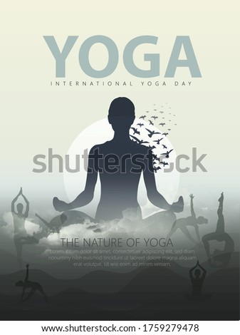 21 june-international yoga day and body posture, human silhouette and sun rays,