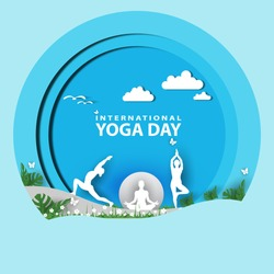 21 june-international yoga day,paper cut yoga body posture, human and sun rays, vector illustration - Vector