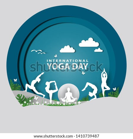 21 june-international yoga day,paper cut yoga body posture, human silhouette and sun rays, vector illustration - Vector