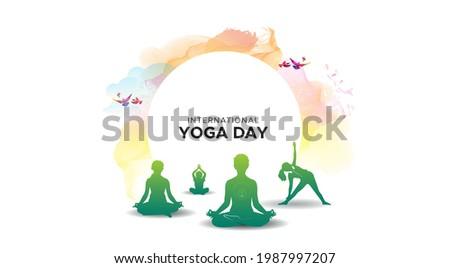 21 June international yoga day. People family doing breathing exercises, Ayurvedic yoga, meditation and enhancing immunity concept