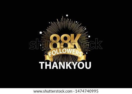 88K, 88.000 Followers anniversary, minimalist logo years, jubilee, greeting card. invitation. Sign Ribbon Gold space vector illustration on black background - Vector