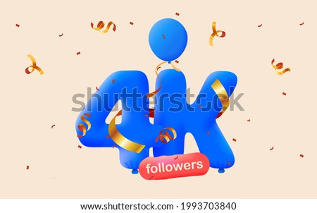 4K followers thank you 3d blue balloons and colorful confetti. Vector illustration 3d numbers for social media 4000 followers, Thanks followers, blogger celebrates subscribers, likes