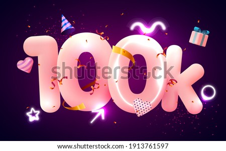 100k or 10000 followers thank you Pink heart, golden confetti and neon signs. Social Network friends, followers, Web user Thank you celebrate of subscribers or followers and likes. Vector illustration