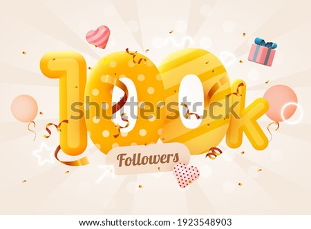 100k or 100000 followers thank you Pink heart, golden confetti and neon signs. Social Network friends, followers, Web user Thank you celebrate of subscribers or followers and likes.