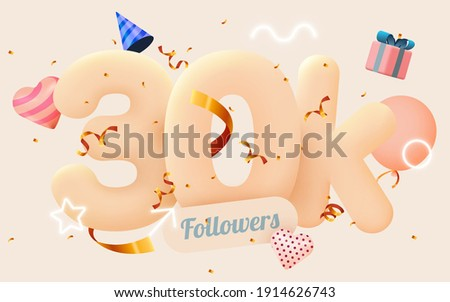 30k or 30000 followers thank you Pink heart, golden confetti and neon signs. Social Network friends, followers, Web user Thank you celebrate of subscribers or followers and likes. Vector illustration
