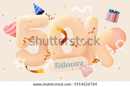 50k or 50000 followers thank you Pink heart, golden confetti and neon signs. Social Network friends, followers, Web user Thank you celebrate of subscribers or followers and likes. Vector illustration