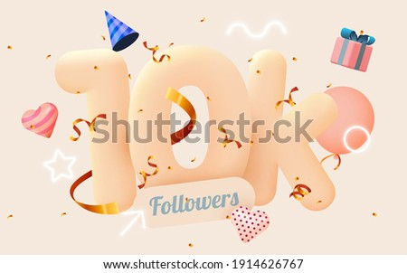 10k or 10000 followers thank you Pink heart, golden confetti and neon signs. Social Network friends, followers, Web user Thank you celebrate of subscribers or followers and likes. Vector illustration