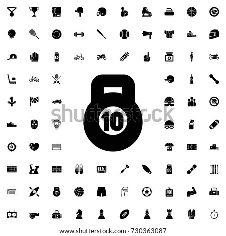 10 kg bell icon. set of filled sport icons.