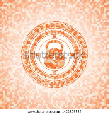 4kg kettlebell icon inside abstract orange mosaic emblem with background