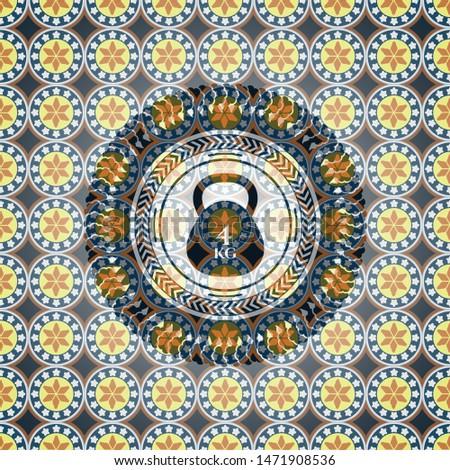 4kg kettlebell icon inside arabesque emblem. arabic decoration.