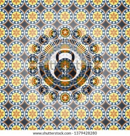 4kg kettlebell icon inside arabesque style emblem. arabic decoration.