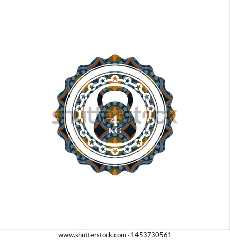 4kg kettlebell icon inside arabic style badge. Arabesque decoration.