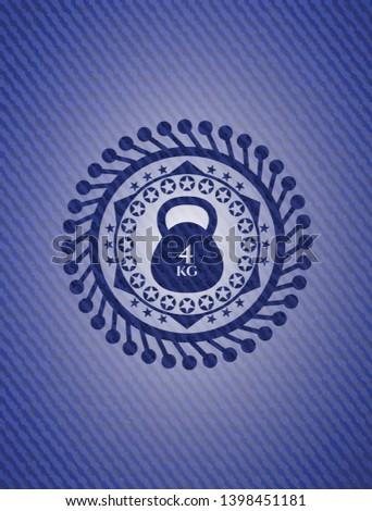 4kg kettlebell icon inside badge with denim background