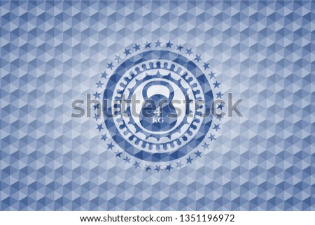 4kg kettlebell icon inside blue emblem with geometric background.