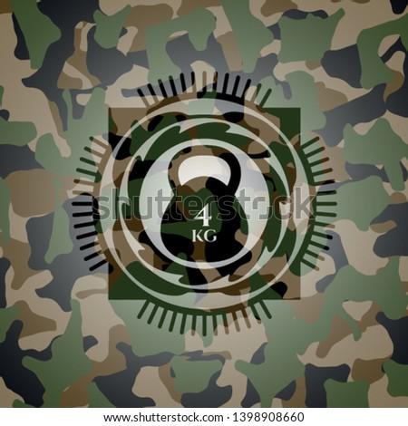 4kg kettlebell icon inside camouflaged emblem