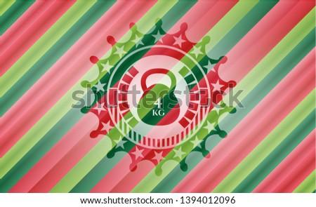 4kg kettlebell icon inside christmas badge.