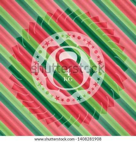 4kg kettlebell icon inside christmas style emblem.