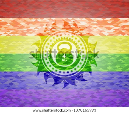 4kg kettlebell icon inside emblem on mosaic background with the colors of the LGBT flag