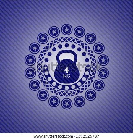 4kg kettlebell icon inside emblem with denim high quality background