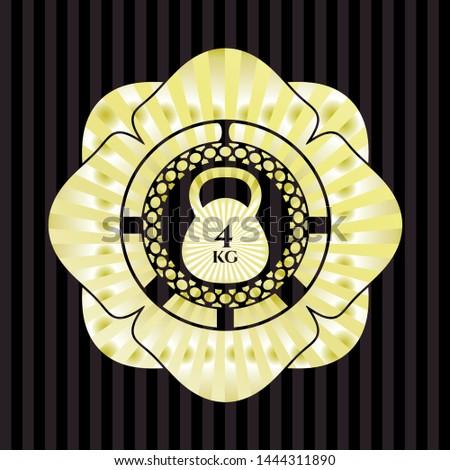 4kg kettlebell icon inside gold badge