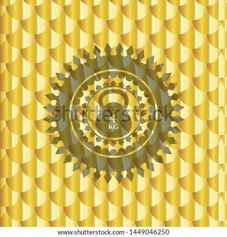 4kg kettlebell icon inside gold badge or emblem. Scales pattern. Vector Illustration. Detailed.