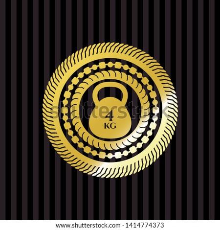 4kg kettlebell icon inside gold emblem or badge