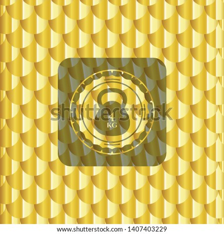 4kg kettlebell icon inside golden badge. Scales pattern. Vector Illustration. Detailed.