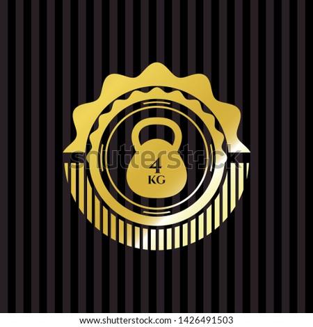 4kg kettlebell icon inside golden emblem